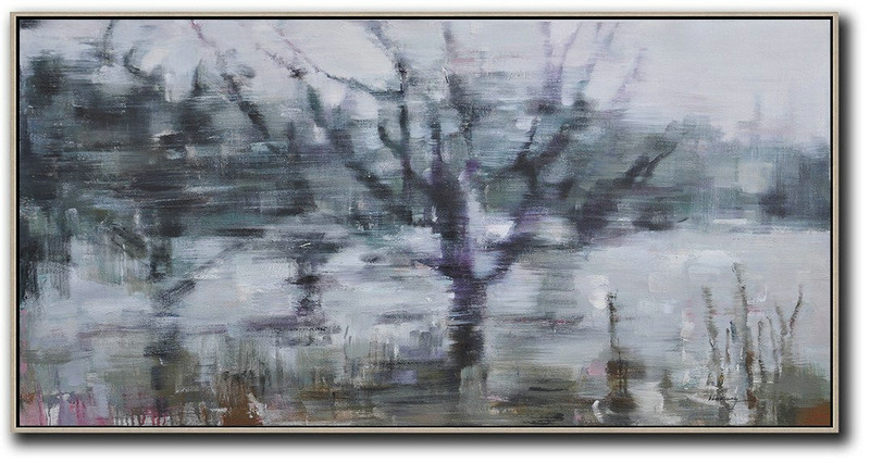 Abstract Painting Extra Large Canvas Art,Panoramic Abstract Landscape Painting,Large Wall Canvas Grey,Dark Green,Purple