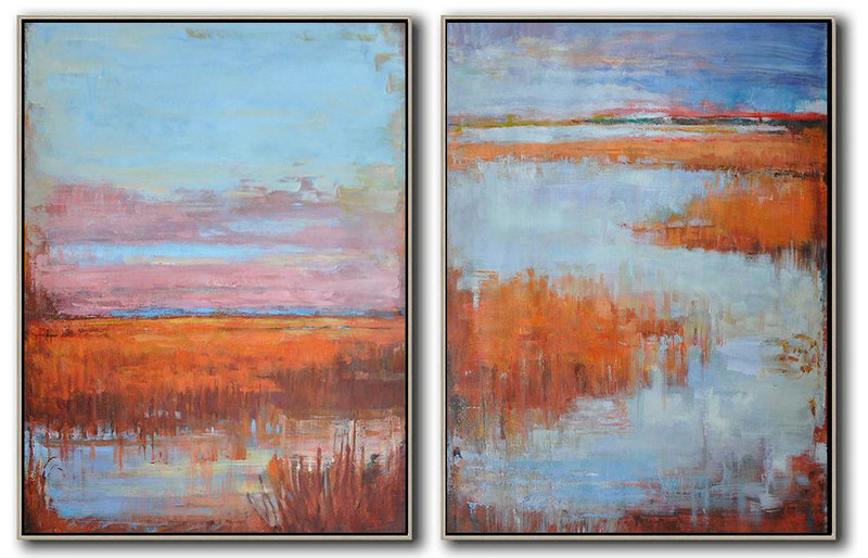 Extra Large Painting,Set Of 2 Abstract Landscape Painting On Canvas, Free Shipping Worldwide,Wall Art Ideas For Living Room Blue,Pink,Orange,Red