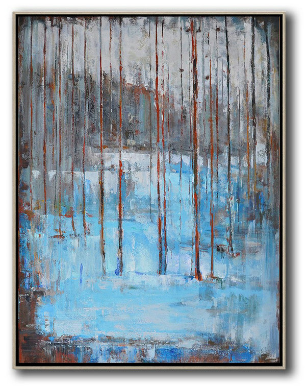Handmade Large Contemporary Art,Abstract Landscape Painting,Contemporary Art Wall Decor White,Grey,Red,Blue