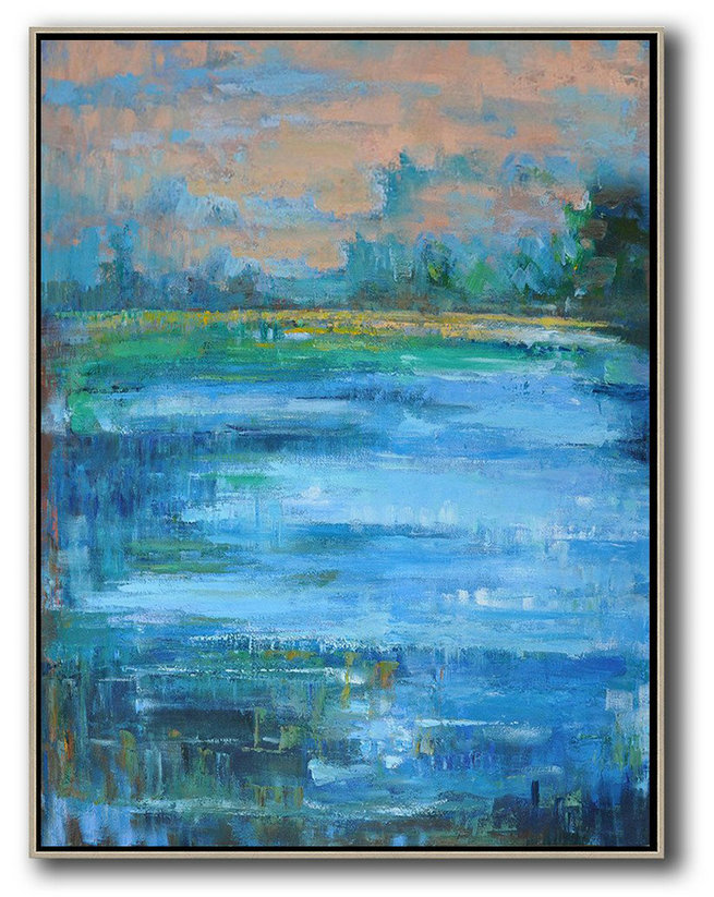 Extra Large Acrylic Painting On Canvas,Abstract Landscape Painting,Abstract Painting On Canvas Earthy Yellow ,Blue,Green