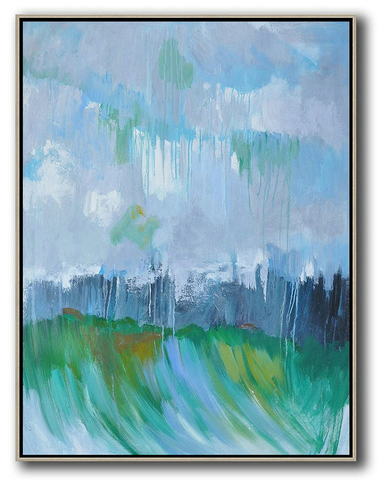 Extra Large Canvas Art,Abstract Landscape Painting,Xl Large Canvas Art Sky Blue,Purple Grey,Dark Blue,Green
