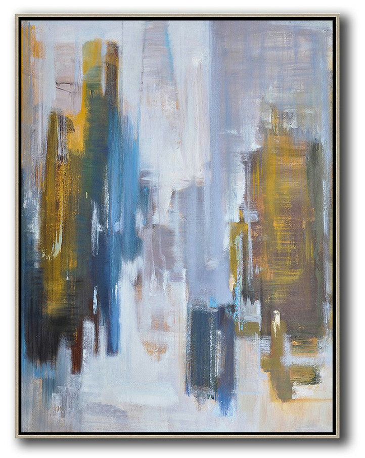 Abstract Painting Extra Large Canvas Art,Abstract Landscape Painting,Abstract Art Decor,Contemporary Painting White,Purple Grey,Yellow,Blue