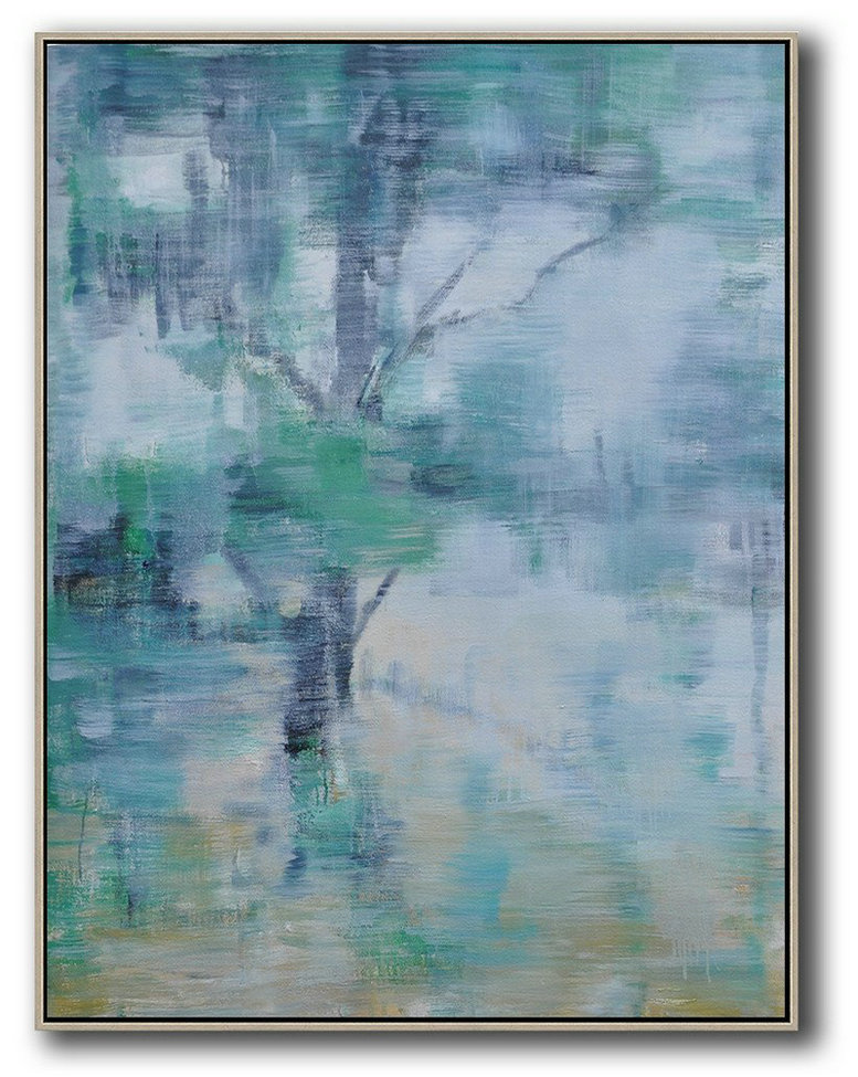 Oversized Canvas Art On Canvas,Abstract Landscape Painting,Hand Made Original Art Green,White,Black,Yellow