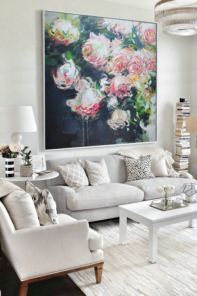 Large Abstract Art,Abstract Flower Oil Painting Large Size Modern Wall Art,Unique Canvas Art #L0O8
