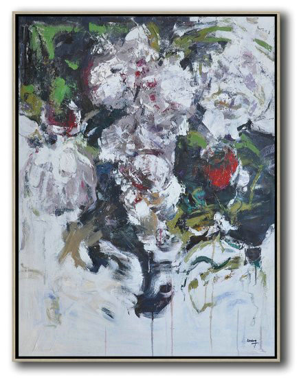 "Extra Large 72"" Acrylic Painting,Hame Made Extra Large Vertical Abstract Flower Oil Painting,Large Wall Art Canvas #R4B8"