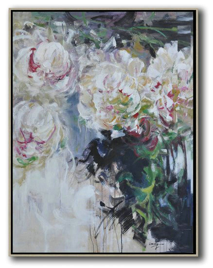 Extra Large Canvas Art,Hame Made Extra Large Vertical Abstract Flower Oil Painting,Custom Canvas Wall Art #O4F3