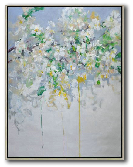 Hand Painted Extra Large Abstract Painting,Hame Made Extra Large Vertical Abstract Flower Oil Painting,Large Paintings For Living Room #D2A8