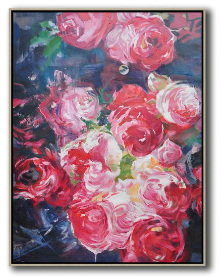 Handmade Large Contemporary Art,Hame Made Extra Large Vertical Abstract Flower Oil Painting,Large Wall Canvas #X5P5