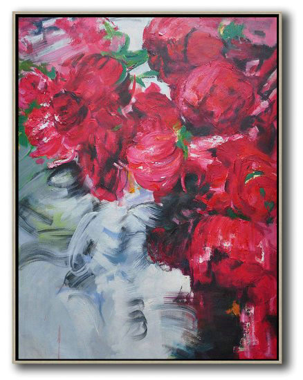 Extra Large Painting,Hame Made Extra Large Vertical Abstract Flower Oil Painting,Large Canvas Wall Art For Sale #Y4V5