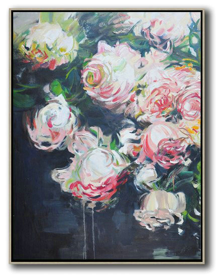 Extra Large Acrylic Painting On Canvas,Hame Made Extra Large Vertical Abstract Flower Oil Painting,Oversized Custom Canvas Art #K7J3