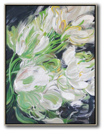 Handmade Painting Large Abstract Art,Hame Made Extra Large Vertical Abstract Flower Oil Painting,Acrylic Painting On Canvas #H4L4
