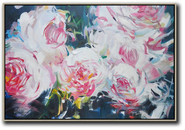 Large Abstract Painting On Canvas,Horizontal Abstract Flower Painting Living Room Wall Art,Large Oil Canvas Art #Q1T7
