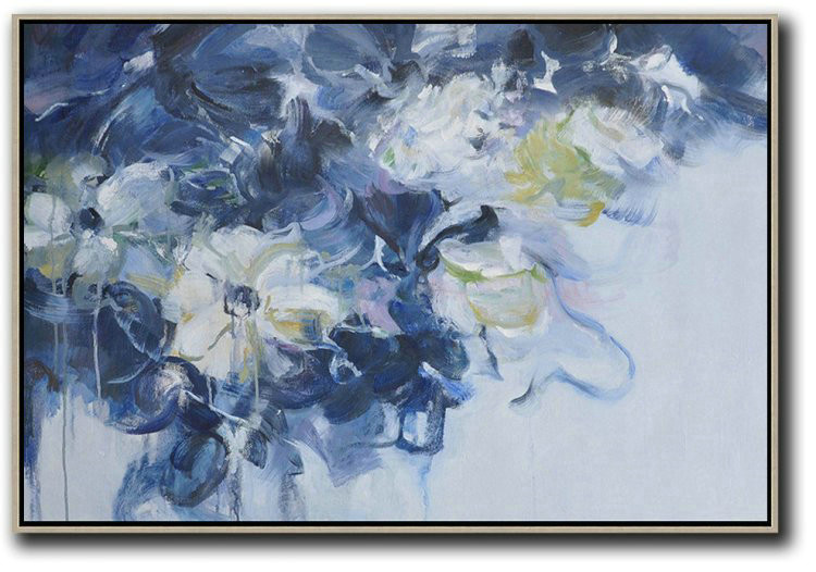 Large Abstract Art Handmade Painting,Horizontal Abstract Flower Painting Living Room Wall Art,Original Art Acrylic Painting #V5I1