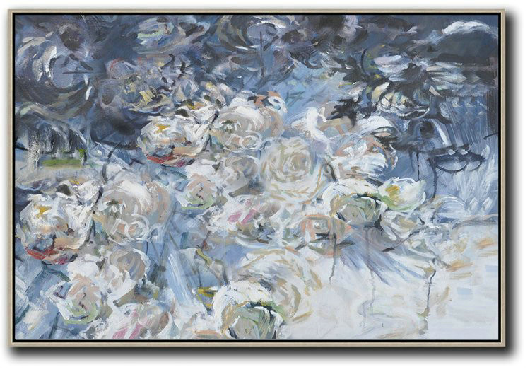 Extra Large Acrylic Painting On Canvas Horizontal Abstract Flower Painting Living Room Wall Art Hand Made
