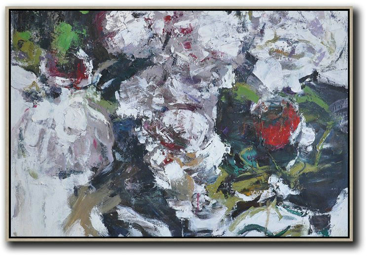Extra Large Abstract Painting On Canvas,Horizontal Abstract Flower Painting Living Room Wall Art,Modern Art Abstract Painting #V5U3