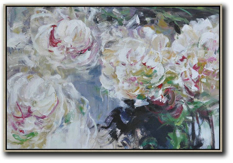 Extra Large Canvas Art,Horizontal Abstract Flower Painting Living Room Wall Art,Original Art Acrylic Painting #K3T2