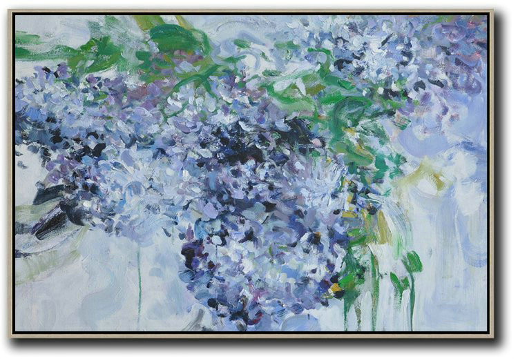 Abstract Painting Extra Large Canvas Art,Horizontal Abstract Flower Painting Living Room Wall Art,Large Contemporary Art Canvas Painting #P8X2
