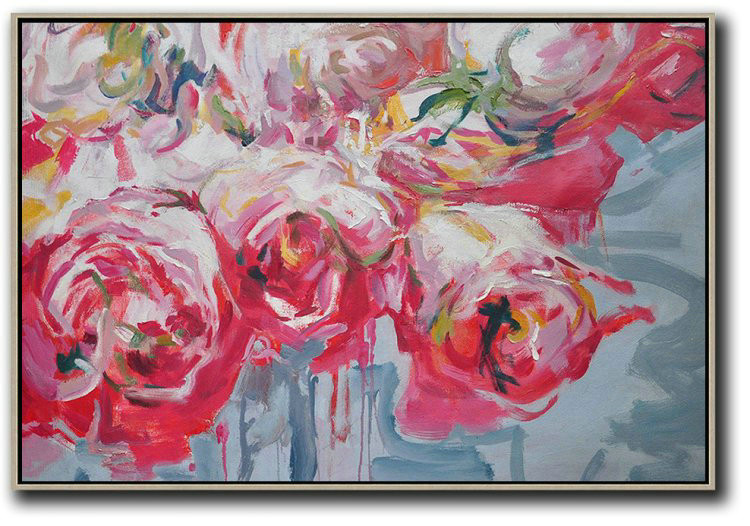 Handmade Large Contemporary Art,Horizontal Abstract Flower Painting Living Room Wall Art,Hand Paint Large Clean Modern Art #L2D6